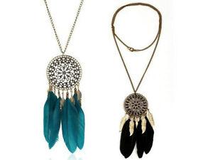 Women-Retro-Dream-Catcher-Feather-Pendant-Long-Sweater-Chain-Necklace-Fashion
