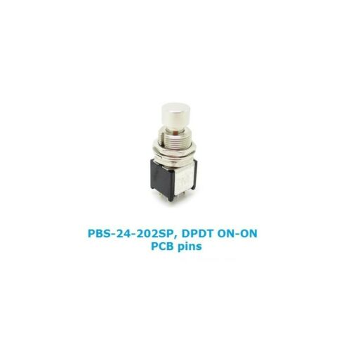 2PDT pushbutton switch PCB pins Daier PBS-24-202SP switch DPDT ON-ON