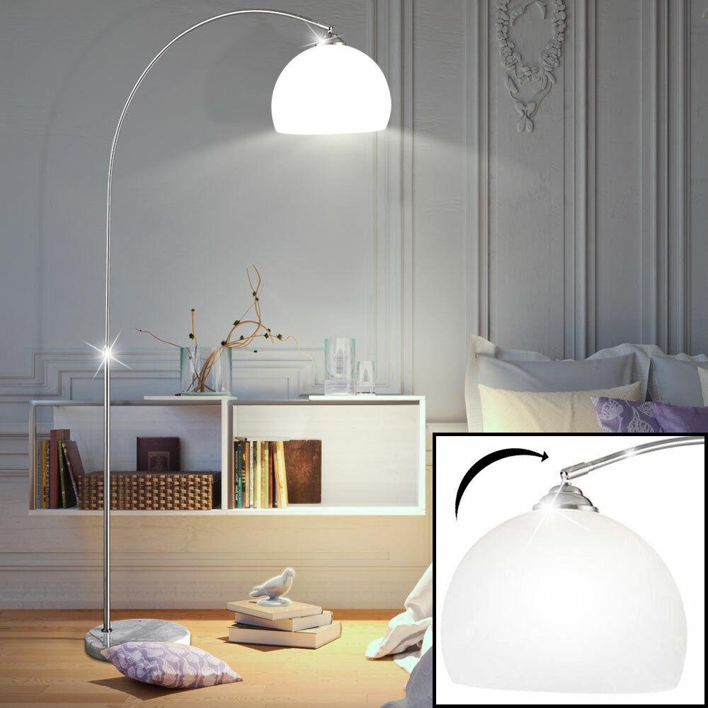 LED Retro Bogenlampe Weiss Marmor-Fuss 196cm ausziehbar Kugel Lampe Steh-Leuchte