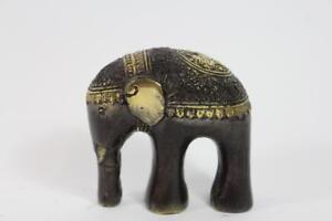 Skulptur-Figur-Bronze-teilpoliert-schoen-verziert-Elefant