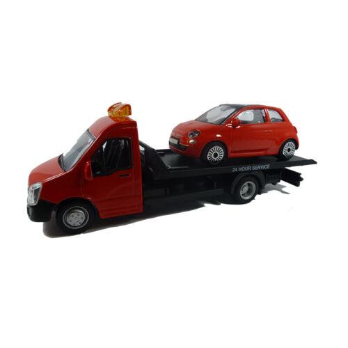 Bburago 31400 grúa rojo con Fiat 500 escala 1:43 nuevo °