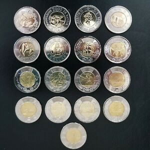 Canada 2 Dollar Commemorative Coins Non-Coloured Toonie Set