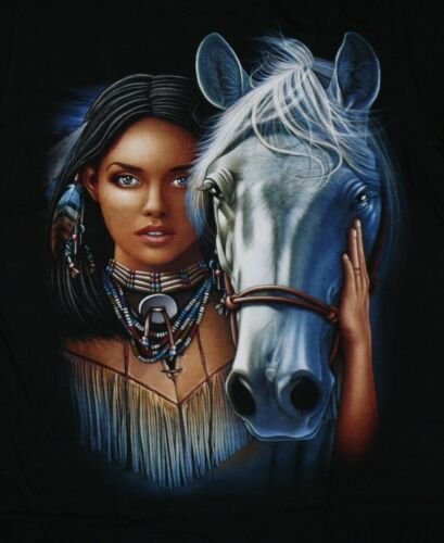 Indianer Western T-Shirt:Indianerin+Pferd,Gr.S,M,L,XL Reiter,Rodeo Native Cowboy