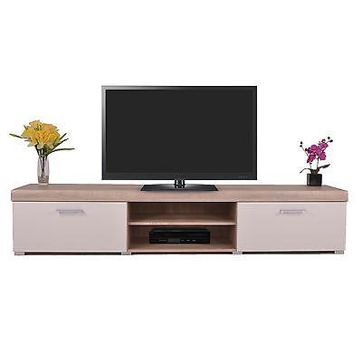 2 Metre White & Sonoma Oak Effect 2 Door TV Cabinet Plasma Low Bench Stand Unit