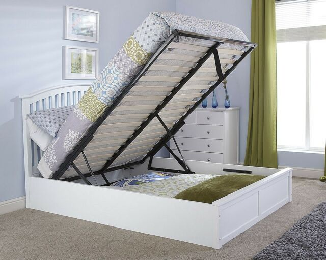 Astounding Madrid 4Ft6 Double Wooden Ottoman Bed Solid White Ibusinesslaw Wood Chair Design Ideas Ibusinesslaworg