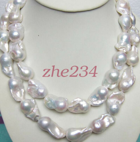 15-28MM New Long AAA Natural White South Sea Baroque Pearl Necklace 35 /'/'