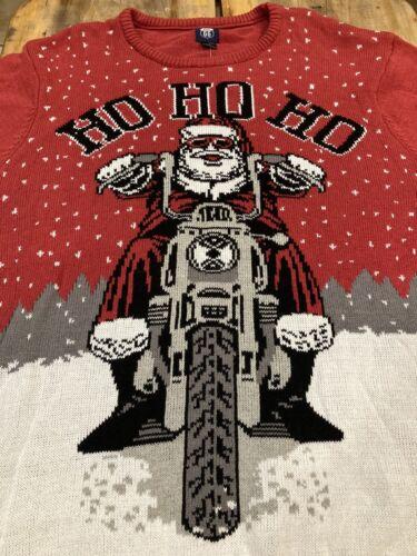 Route 66 Ho Ho Ho Motorcycle Santa Ugly Christmas Sweater Red Tacky 2X NWT