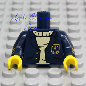 LEGO-Dark-BLUE-MINIFIG-TORSO-Navy-Sailor-Captain-Sweater-Shirt-Suit-Ship-Jacket