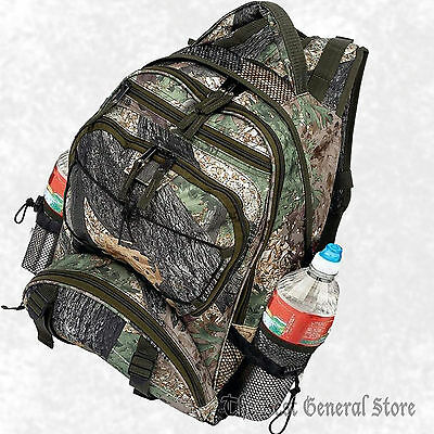 "17"" Water-Resistant Backpack Tree Forest Woodland Camo Hunting Bag Bottle Pocket"