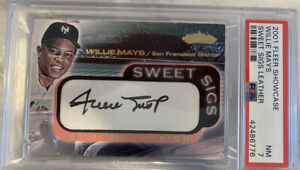 Rare-Willie-Mays-2001-Fleer-Showcase-Sweet-Sigs-LEATHER-Auto-Graded-PSA-NM