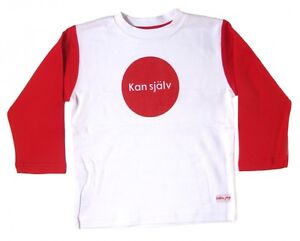 "Do it myself Red 3 Years 1003 NWT Liten Jag Sweden Cotton T-shirt /""Kan själv/"""