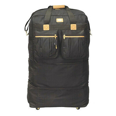 "40"" Black Jumbo Rolling Wheeled Duffel Bag Spinner Suitcase Duffle Bag Luggage"