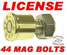 4 BRASS 44 MAG BULLET LICENSE PLATE BOLTS FOR HARLEY /& METRIC MOTORCYCLES