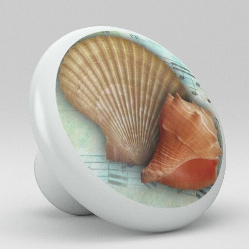 Coastal Style Ocean Sea Conch Shells Music Note Ceramic Knob Pull Drawer Vanity