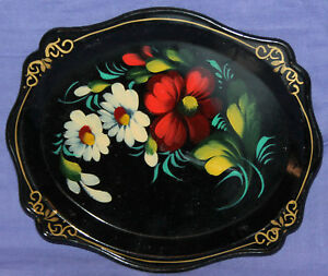 Vintage-Russian-hand-painted-floral-flowers-wood-tole-tray