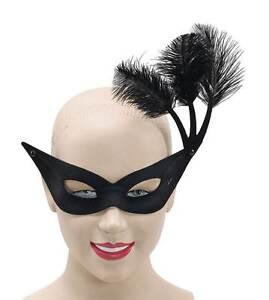 image is loading black eye fask with amp side feathers masquerade - Black Eye Mask Halloween