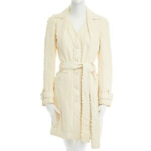 CHRISTIAN-DIOR-GALLIANO-cream-crinkled-leatther-jagged-seam-trench-coat-FR38-M