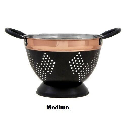 Colander Drainer Sieve Strainer Small Medium Prescott Charcoal Copper Kitchen