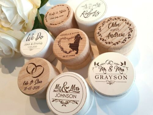Text for Engagement and Proposals PERSONALISED Wedding Ring Box Names /& Date