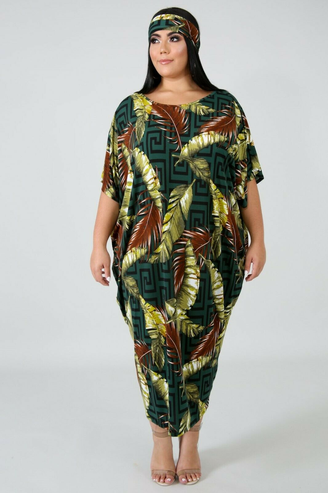 Plus Size Falling Palms Green Long Tunic Kaftan Dress + Head Wrap Scarf 1X 2X 3X