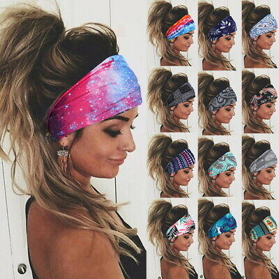Women Boho Wide Elastic Stretchy Headband HairBand for Running Fitness Sports*