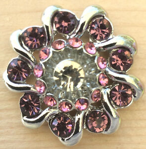 ,//Snap.Chunk Button Flower Design In Pinks Charm For Ginger Snap Style Jewelry