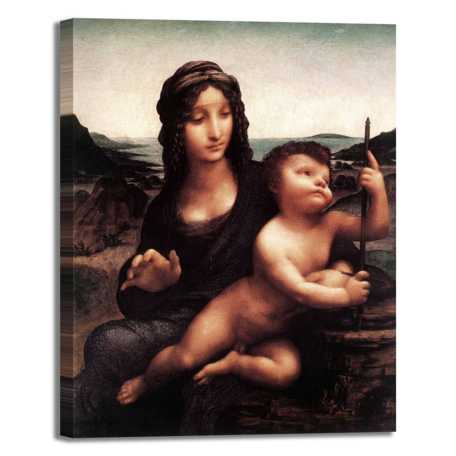 Da Vinci Madonna dei Fusi design quadro stampa tela dipinto telaio arrossoo casa