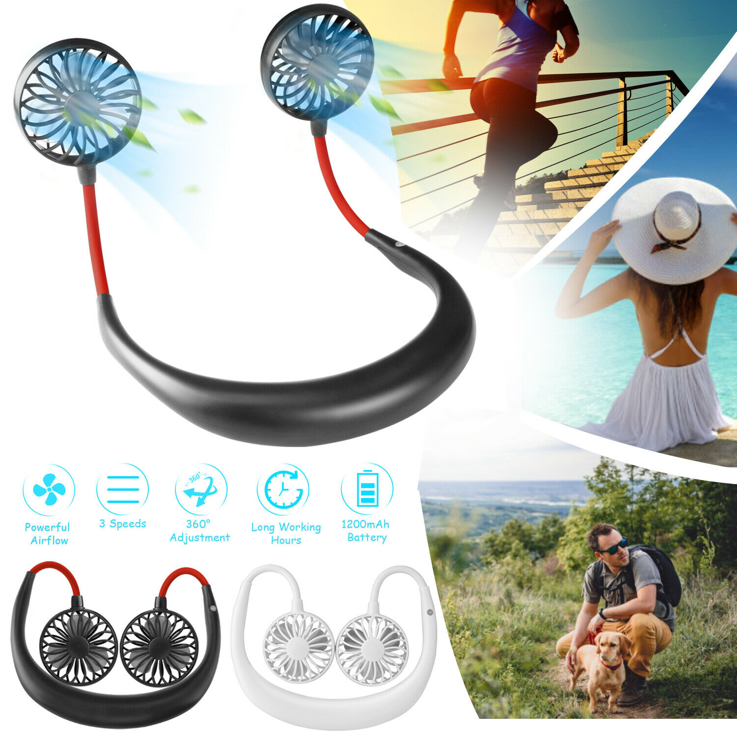 USB Portable Rechargeable Neckband Sport Fan Lazy Neck Hanging Dual Cooling Fan