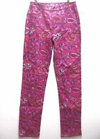 Dg2 Stretch Denim Paisley Print Skinny Jeans Hot Pink 4t 4 Tall With Tags