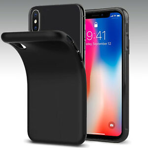 Black-Ultra-Soft-Matte-TPU-Rubber-Protection-Case-Cover-For-iPhone-X-8-7-6S-6-US