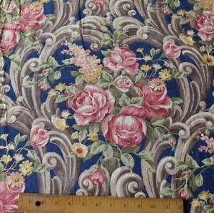 Vintage-c1940-Roses-In-Scroll-Frame-Layout-Linen-Fabric-Double-Panel-Navy-Indigo