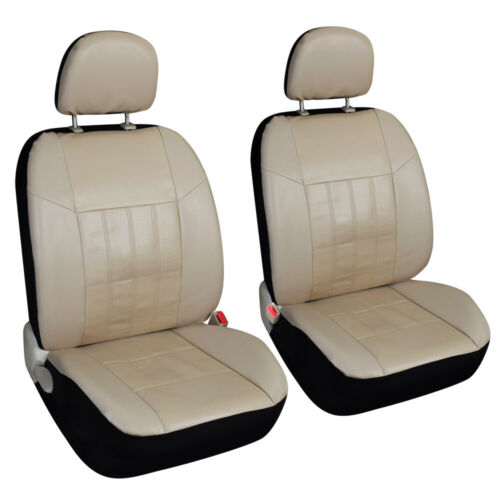 Auto Beige Faux Leather Car Seat Covers Set Universal for Honda Toyota Chevy