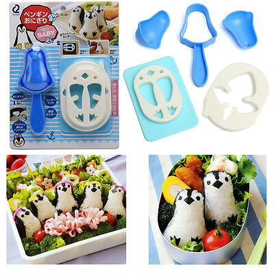 DIY Cute Penguin Kitchen Sushi Maker Sandwich Rice Ball Mould Mold Bento Cutter