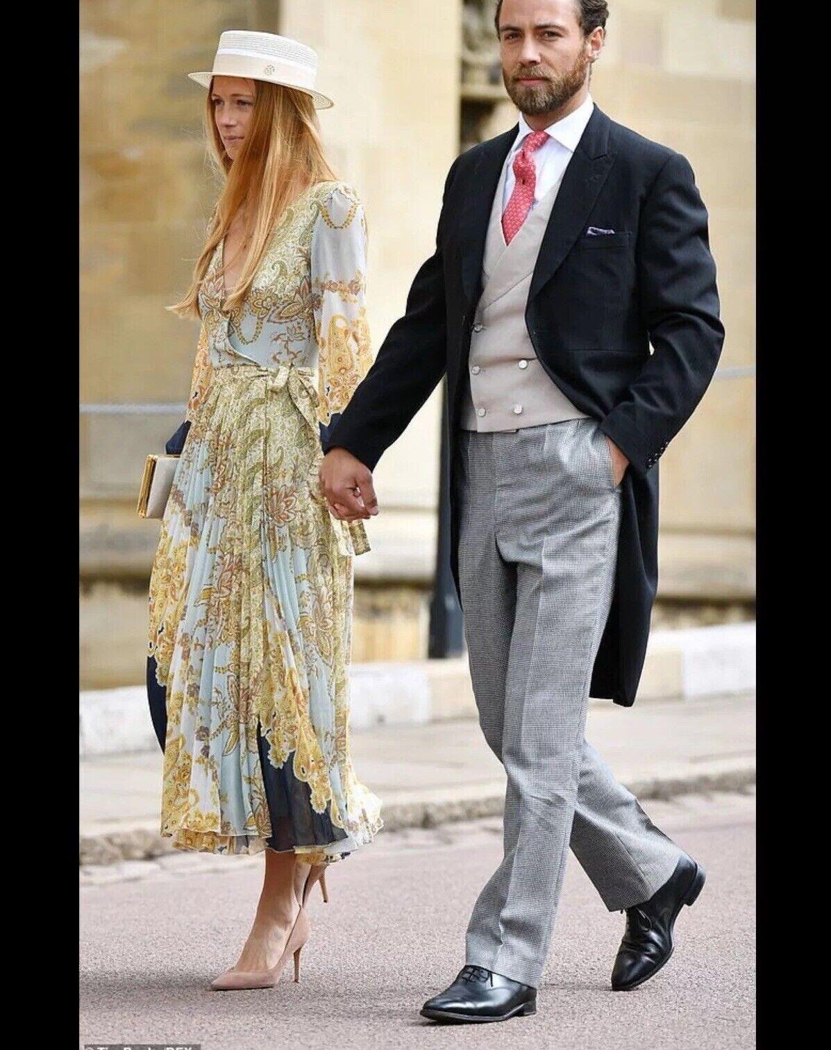 H&M Tendance SS19 Col V Plissée Wrap mousseline robe longue UK 4 EU 32 Mariage
