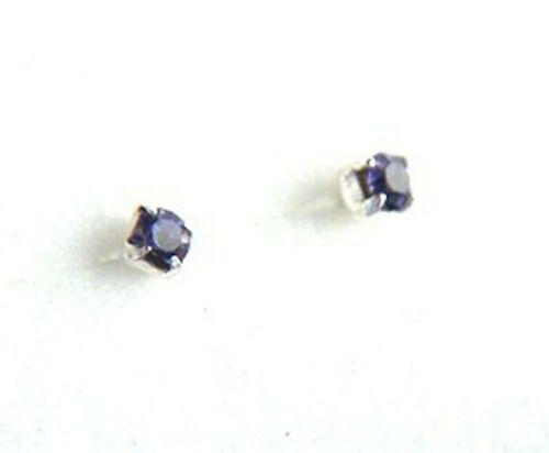 Girls 925 Sterling Silver 2mm Small Extra Tiny Tanzanite Crystal Stud Earrings N