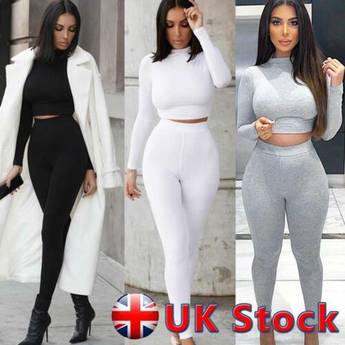 UK Women Long Sleeve Tracksuit Crop Tops Yoga Leggings Suit Gym Fitness 2Pcs Set