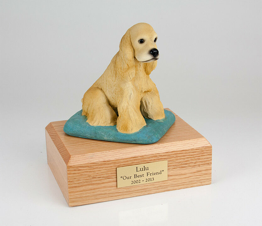 Blonde Cocker Pet Funeral Cremation Urn Available in 3 Diff Colores & 4 Dimensiones