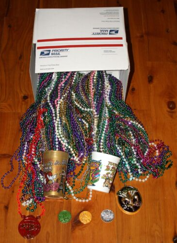 Cups Medallions Doubloons! Huge Lot 15 Dozen 180 Multi Color MARDI GRAS BEADS