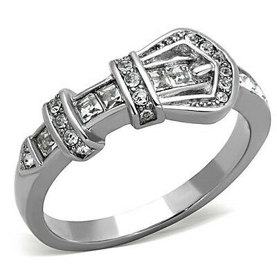 Silver Belt Ring Stainless Steel Fashion Buckle Crystal  Size 5-10