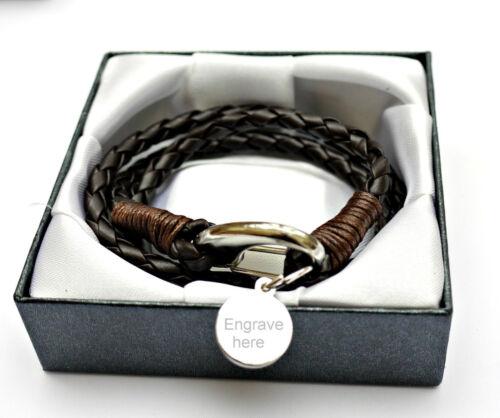 Hommes Best Man Gravure Personnalisée Cuir Bracelet Enveloppe Emballage Cadeau