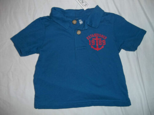 NEW CHILDRENS PLACE BLUE BOYS SIZE 6-9 9-12 12-18 MONTHS POLO SHIRT//TOP W//ANCHOR