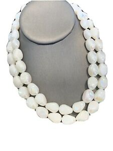 """1950's Ab White  Lucite Beaded Two Strand Pearl Necklace  16"""" West Germany"""