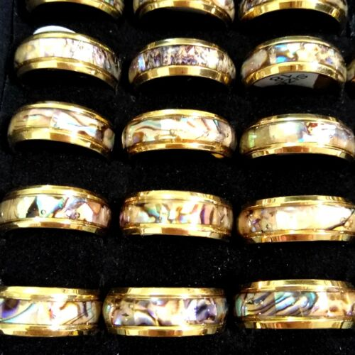 12x Gold Silver Men Women Vintage Unique Real Shell Filled Stainless Steel Rings