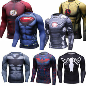 Mens-Superman-3D-Print-T-Shirts-Compression-Spandex-Workout-Cosplay-Tees-Dri-fit