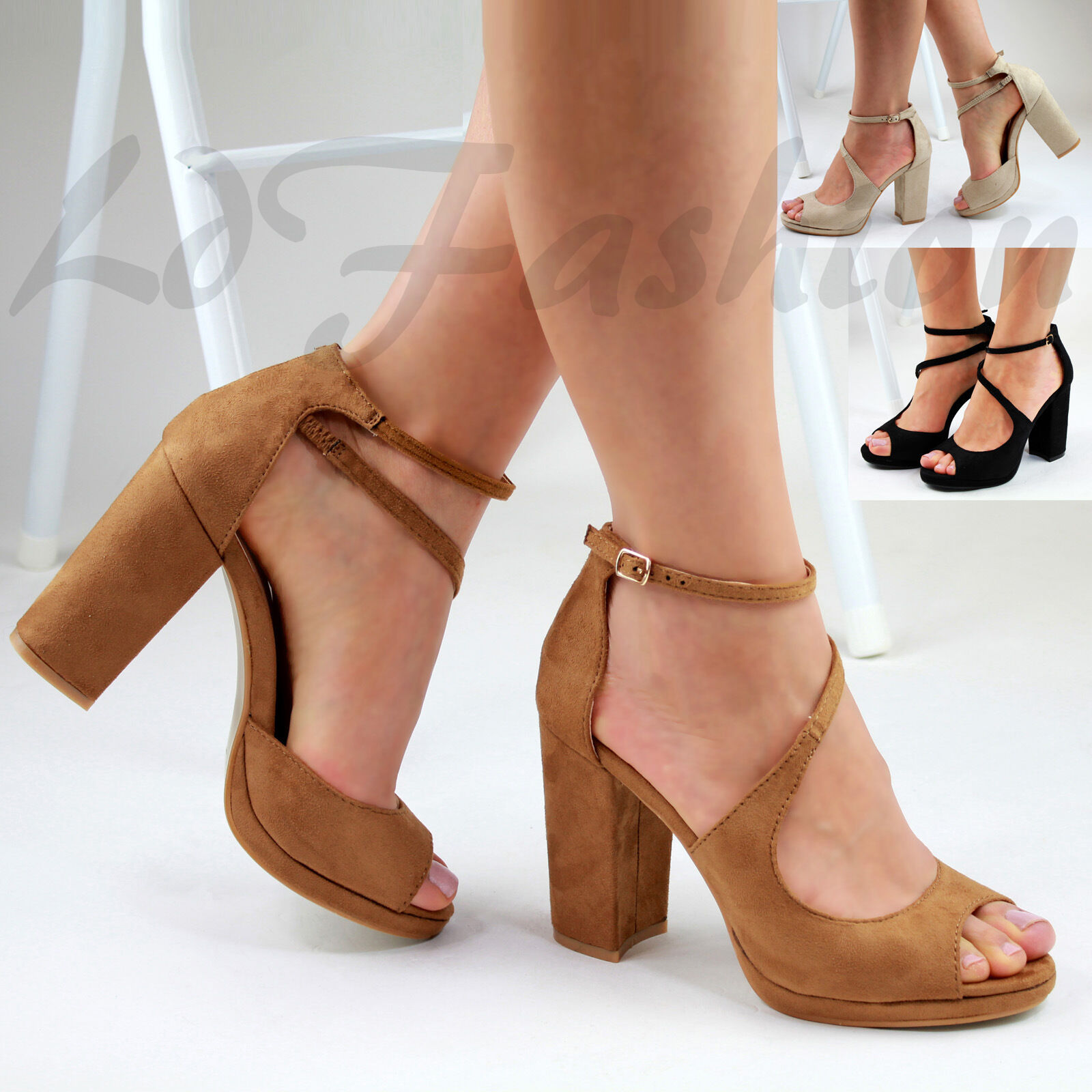 New Womens High Strap Block Heel Sandals Ankle Strap High Peep Toe Low Platform Shoes Sizes a281aa