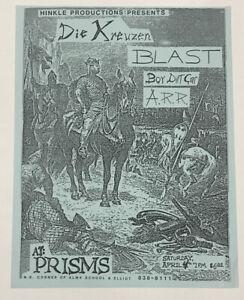Original-Vintage-Die-Kreuzen-Blast-Punk-Rock-Concert-Flyer-1987-Chandler-Arizona