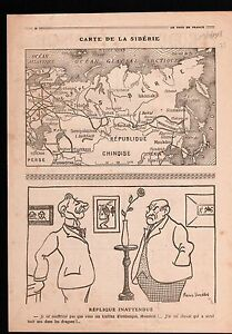WWI-Map-Carte-Siberie-Siberia-Russia-Russie-China-Chine-Iran-1918-ILLUSTRATION