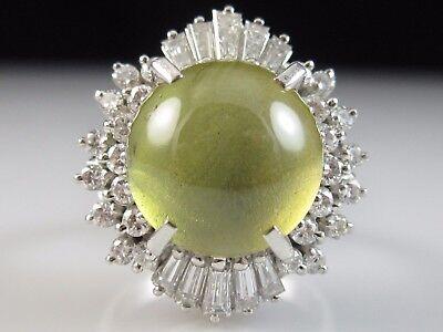 Platinum Ring Cat's Eye Chrysoberyl Diamond Estate Fine Jewelry 8.85ctw Size 6