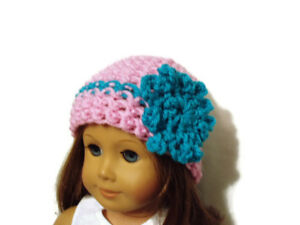 Crochet-Hat-Fits-American-Girl-Dolls-18-034-Doll-Clothes-Pink-w-Turquoise-Flower
