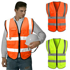 Neon Security Safety Vest High Visibility Reflective Stripes With5 Pockets